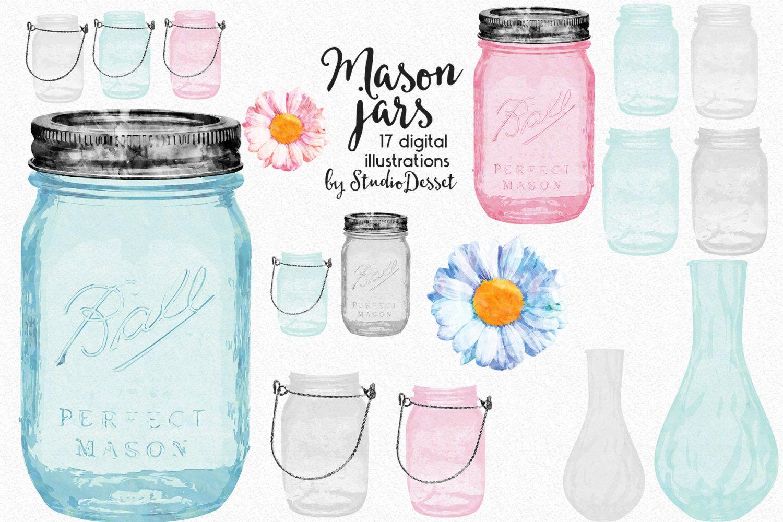 Mason Jars Cliparts, Watercolor Jars, Vases Clip Art, Daisy.