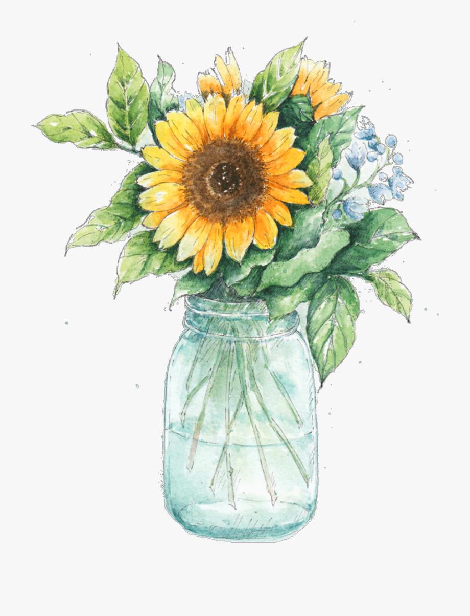 Ftestickers Watercolor Sunflower Masonjar Clipart Royalty.