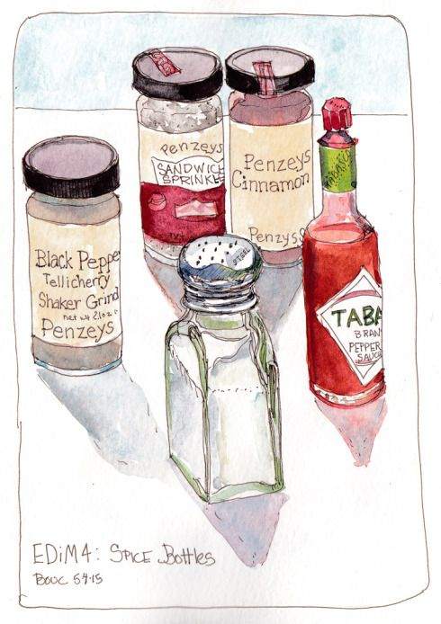 Every Day in May 4: Spice Bottles, ink and watercolor, 8x5.