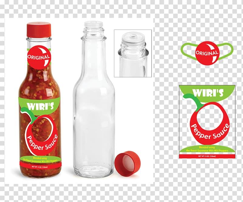 Glass bottle Hot Sauce Chili pepper, sauce label transparent.
