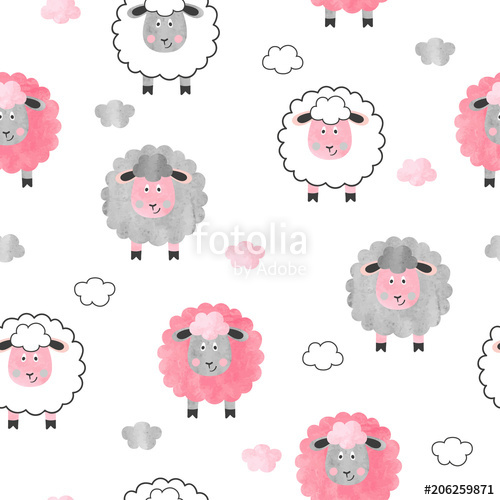 Seamless watercolor cute sheep pattern. Vector background.
