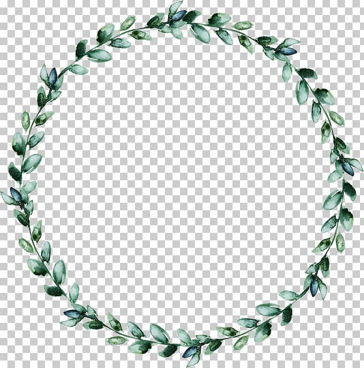 Wreath Leaf, Watercolor wreath of green leaves, green leaf.