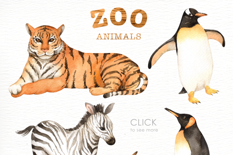 Zoo Animals Watercolor clipart By everysunsun.
