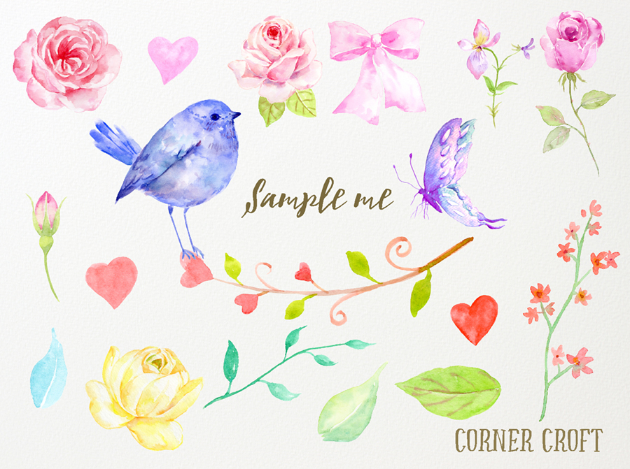 Free watercolor clipart.