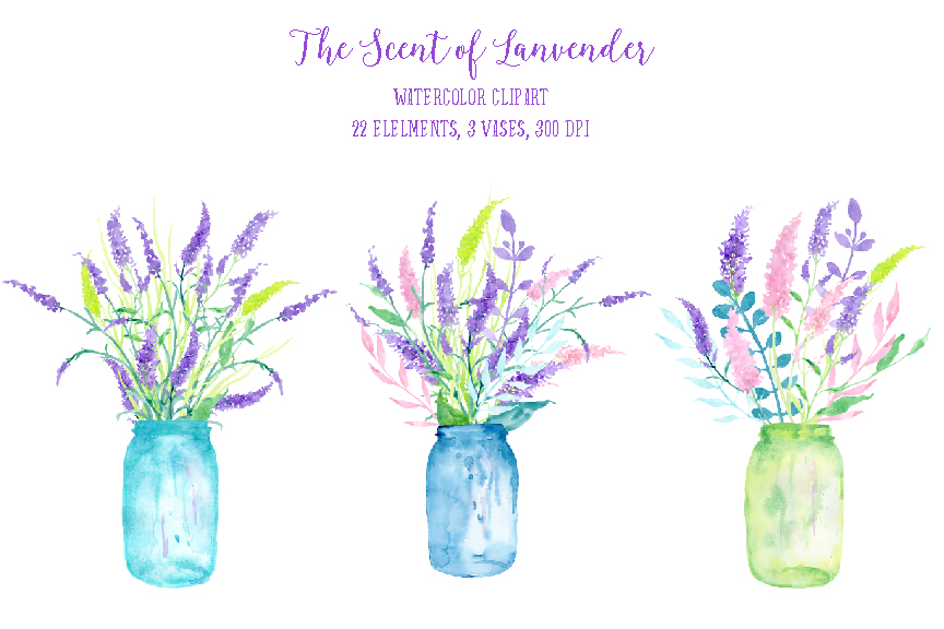 Watercolor Clipart the Scent of Lavender by Cornercroft.