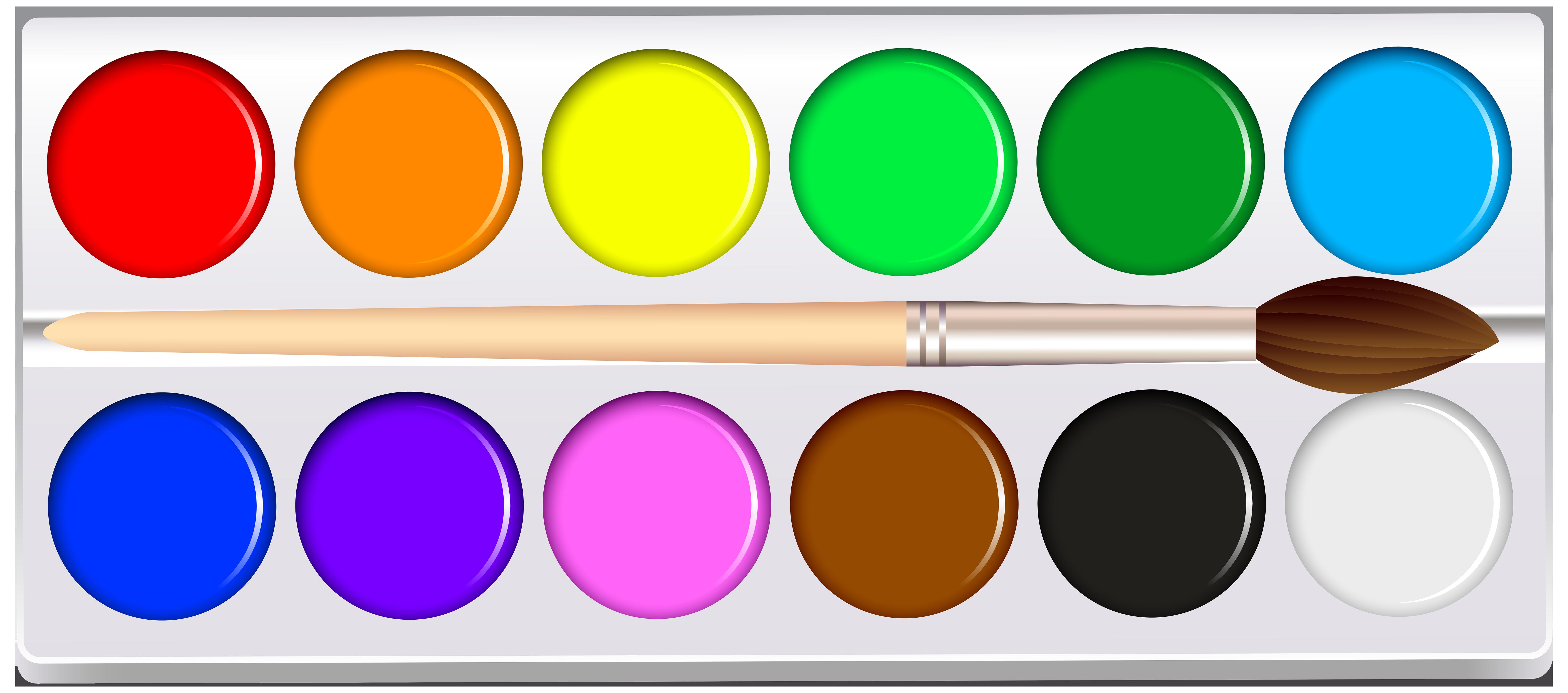 Watercolor Pan Set PNG Clip Art.