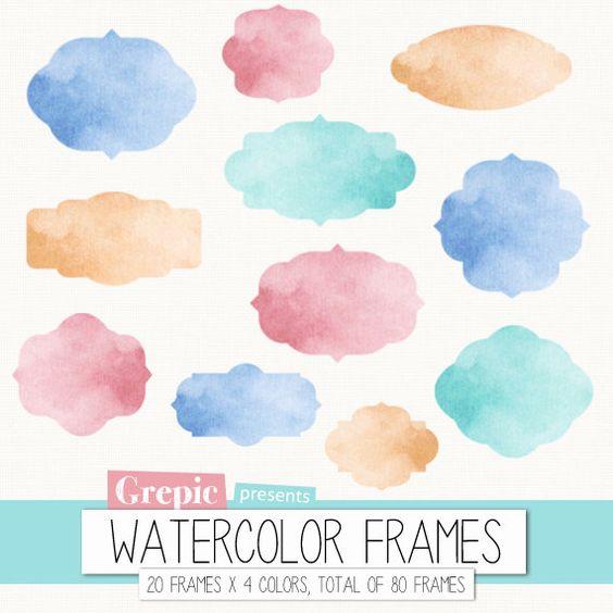 "Watercolor frame clipart: Digital frames ""WATERCOLOR FRAMES"" clip."