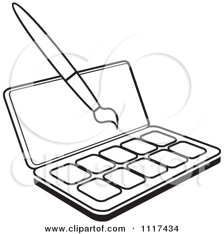 Clipart Of A Black And White Watercolor Paint Kit And Brush.