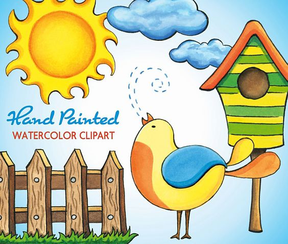 Spring Hand Painted Watercolor Clipart, Summer Sun Bird Clouds.