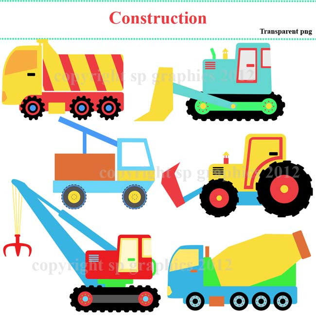 Construction vehicles clipart.