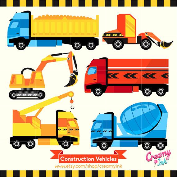 Construction Vehicles Digital Vector Clip art / by CreamyInk.