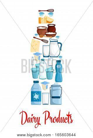 Milk and dairy poster. Bottle of milk designed of dairy village.
