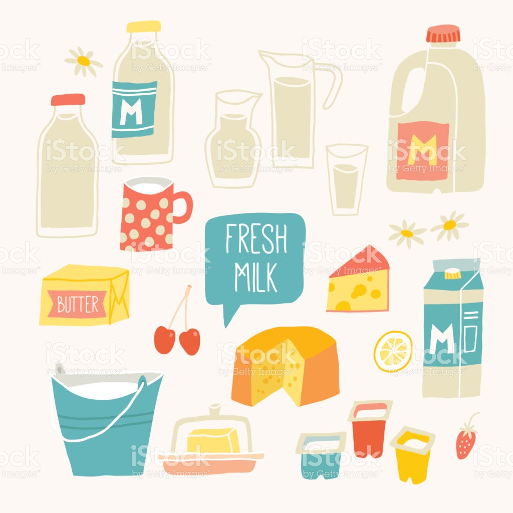 Fresh Milk Set Dairy Products Milk Yogurt Cheese Butter Milkshake.