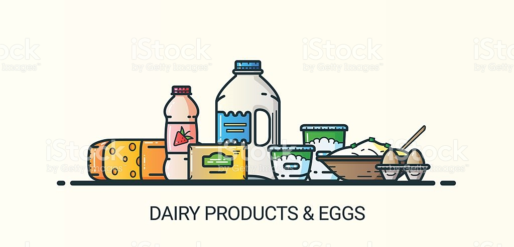 Flat Line Dairy Products Banner stock vector art 515857312.