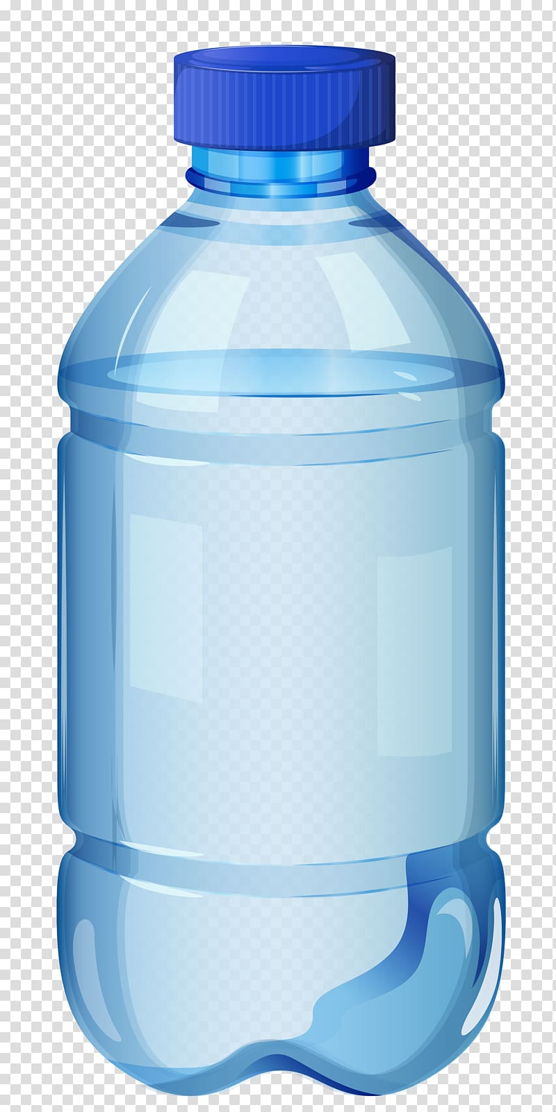 Clear and blue bottle filled with clear liquid, Water bottle.