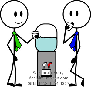 Clip Art Image of Stick Figure Men at the Water Cooler.