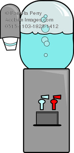 Clip Art Image of a Cartoon Water Cooler.