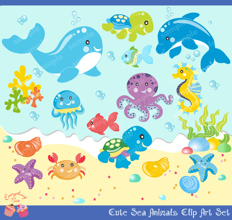 Cute sea creature clipart.