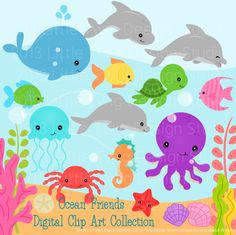 Sea Animal Clipart, Sea Animal Clip Art, Sea Creatures, Fish.