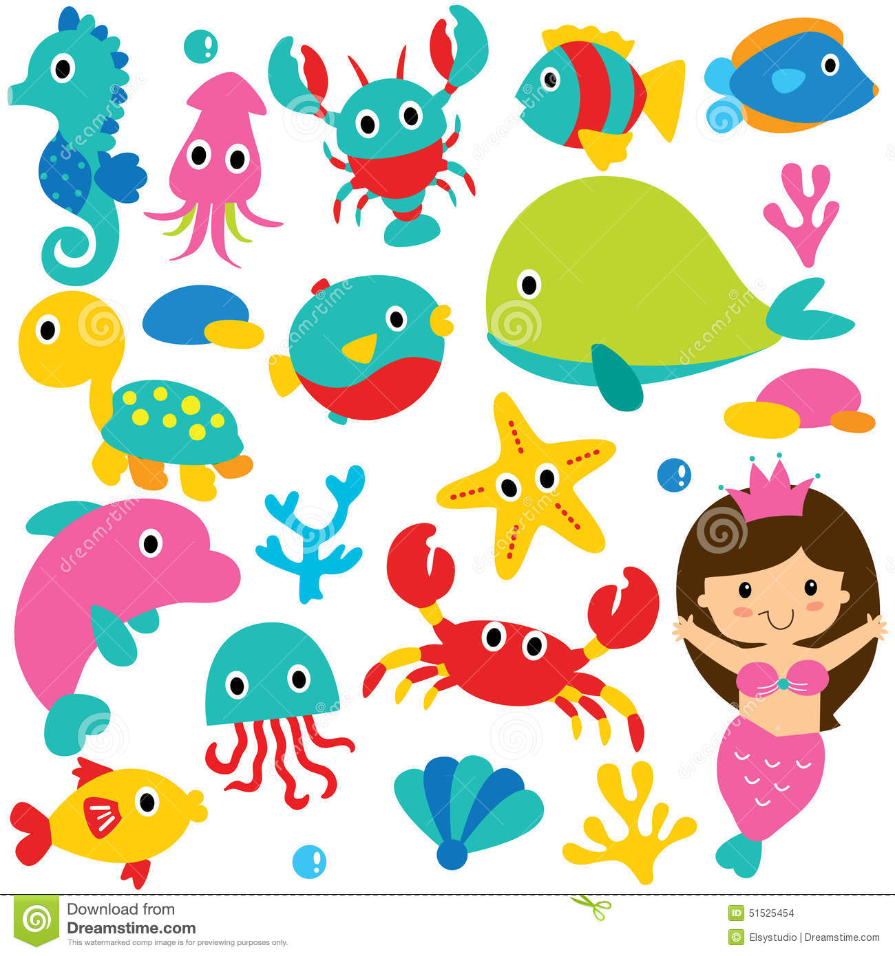 Sea creatures clipart.