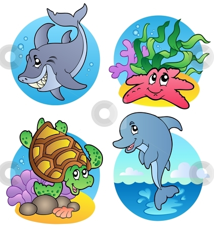 Water creatures in the water clipart.