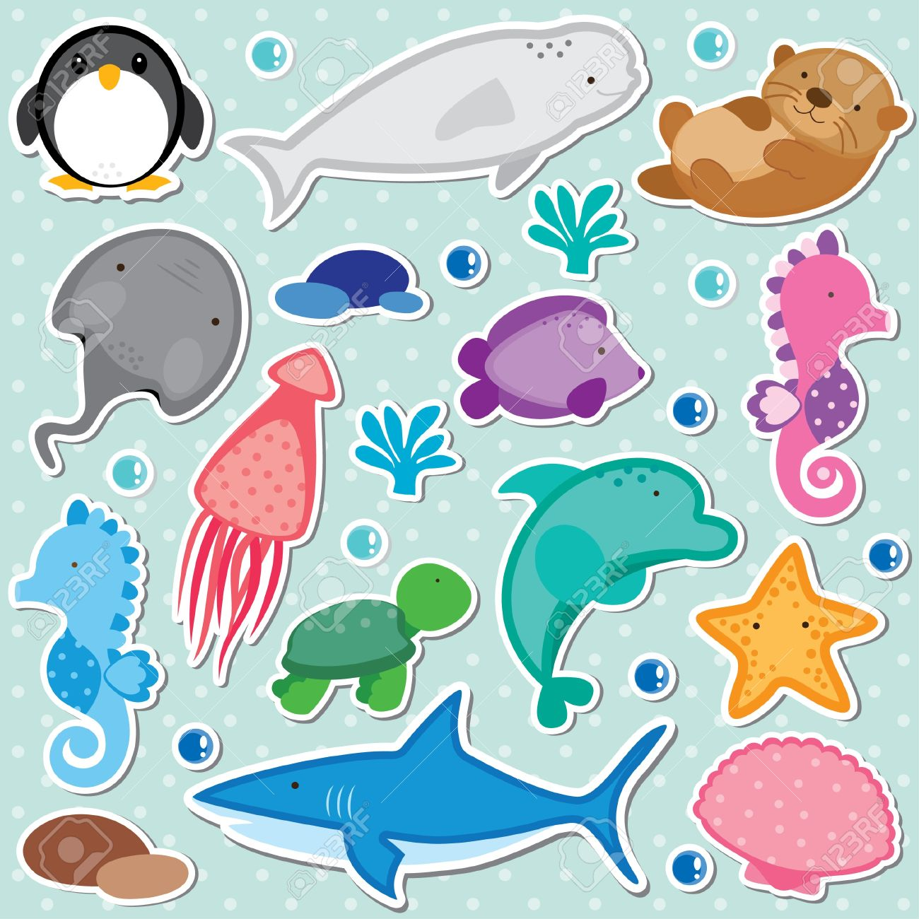 Sea Animals Clip Art Royalty Free Cliparts, Vectors, And Stock.
