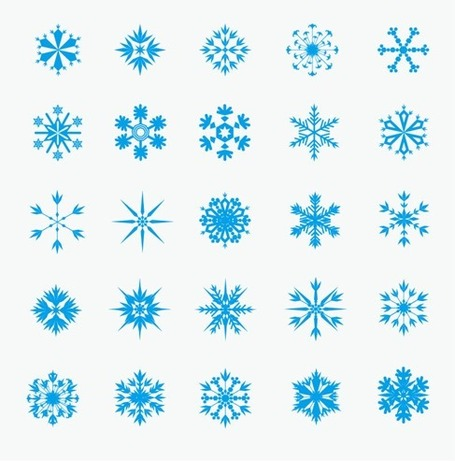 Ice Crystal Snowflakes, Vector.