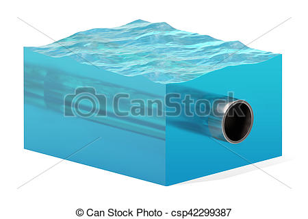 Stock Illustration of 3d rendering of cross section of water cube.