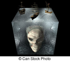Ships on water cube with skull Clipart and Stock Illustrations. 2.