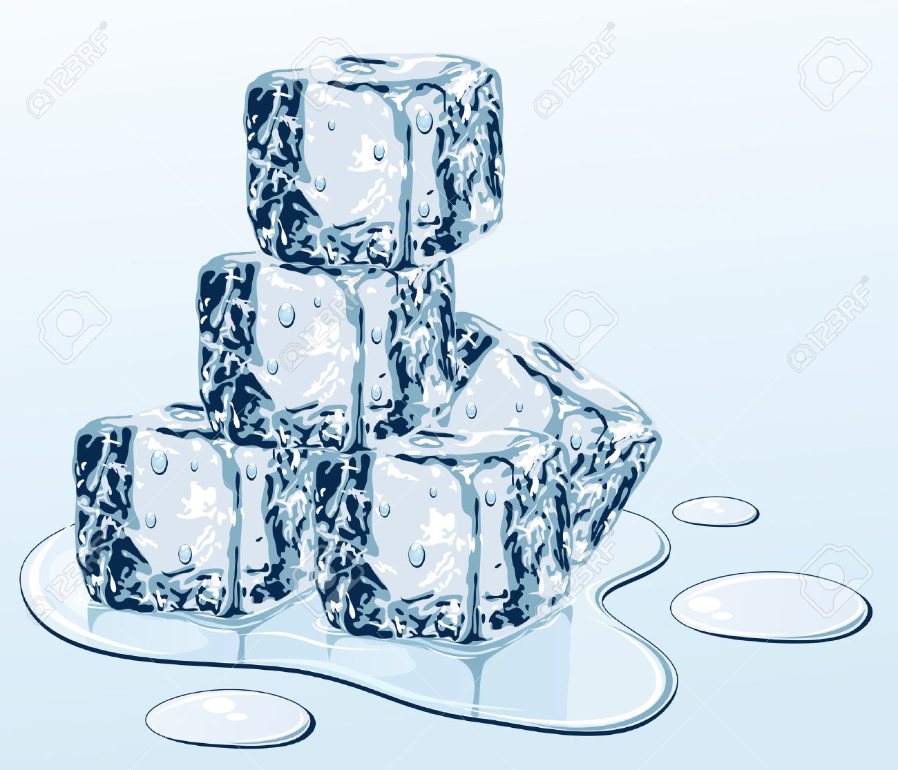 Ice Cube On Water Surface, Illustration Royalty Free Cliparts.