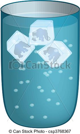 Ice cubes in glass clipart.
