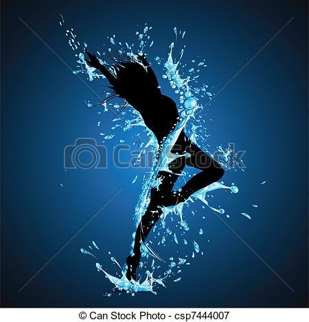 Vectors Illustration of Splashing Dancing Lady.