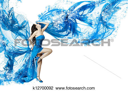 Stock Photo of Woman dance in blue water dress dissolving in.