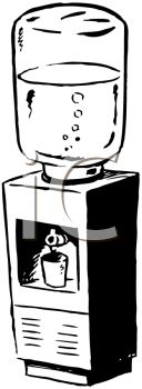 Royalty Free Clip Art Image: Black and White Drawing of an Office.