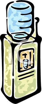 Royalty Free Clipart Image: Drawing of an Office Water Cooler.
