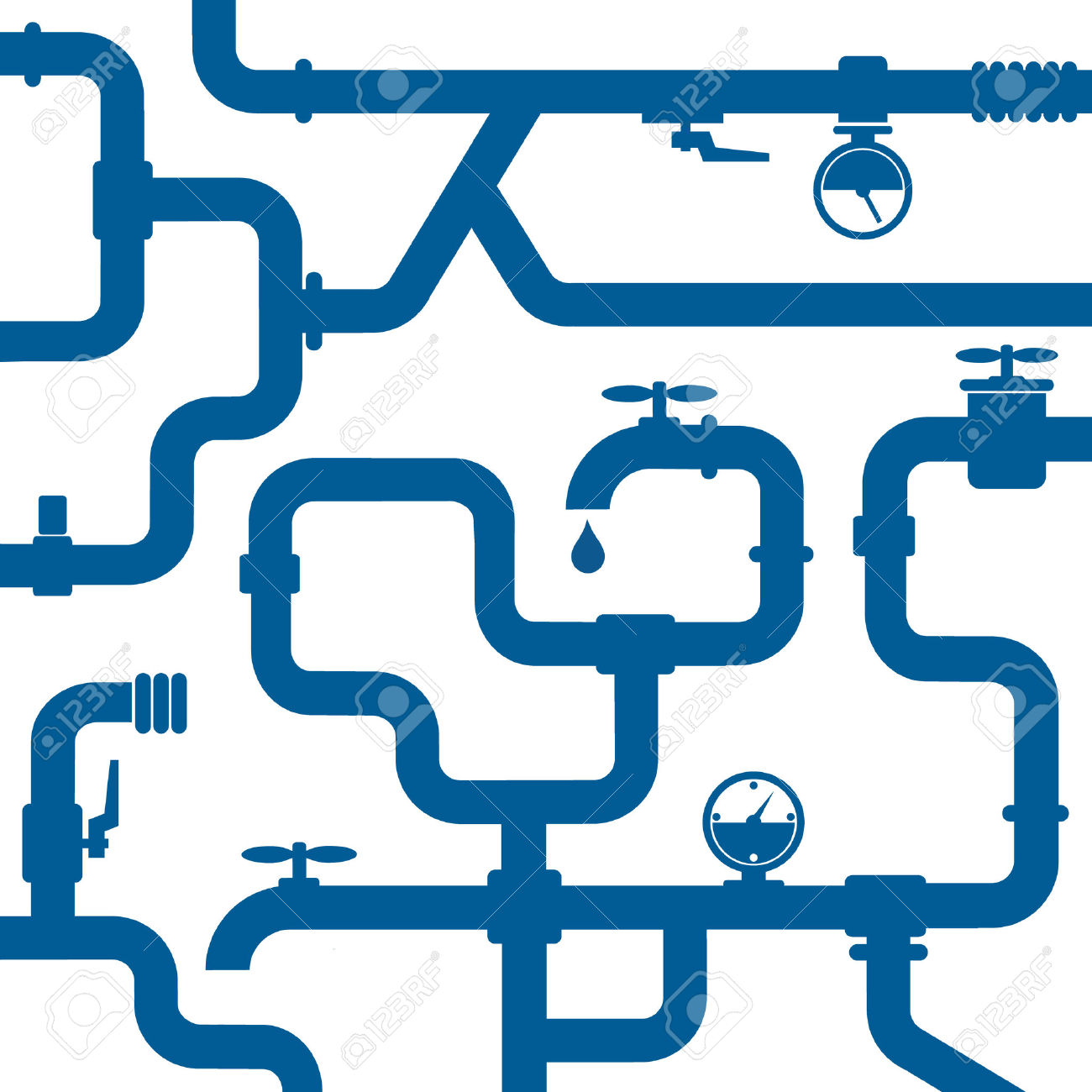 Water piping system clipart.
