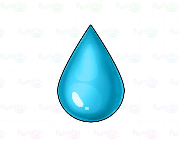 Water Drop Clipart, Water Droplet Clipart, Cute Rain Drop.