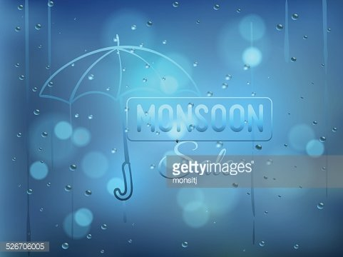 Monsoon offer and sale background with water drops on window.
