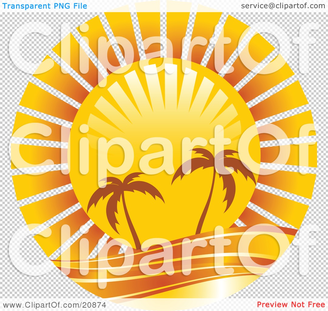 Clipart Illustration of Two Silhouetted Palm Trees Along The.