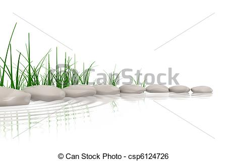 Stock Illustration of Stones & grass at waters edge csp6124726.