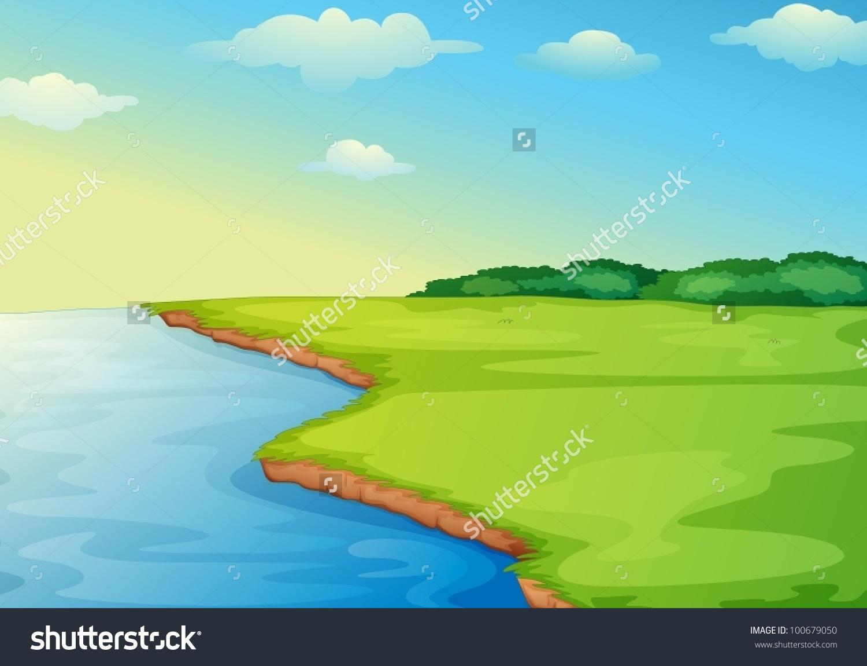 Illustration Open Grass Field On Waters Stock Vector 100679050.