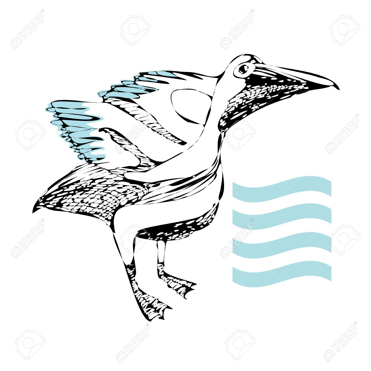 Hand Made Stamp Illustration Of A Pelican With The Water Element.