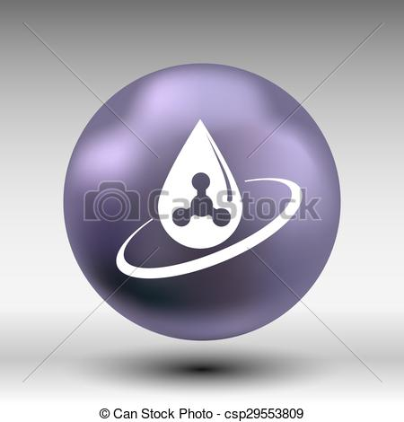Vector Clipart of chemical icons icon drop water element formula.
