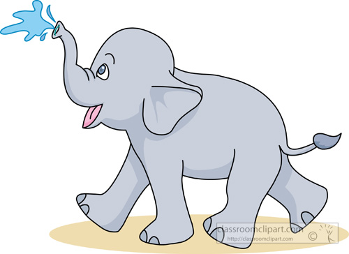 Baby elephant with water clipart.