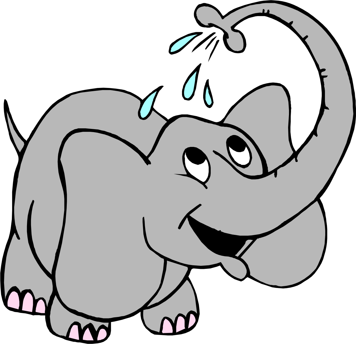 Elephant spraying water clipart free.