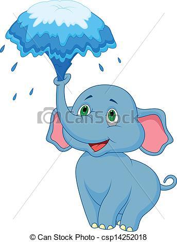 Vector Clip Art of Cute elephant cartoon blowing water.