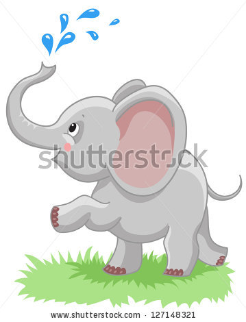Cheerful Baby Elephant Spray Water On Stock Vector 127148321.