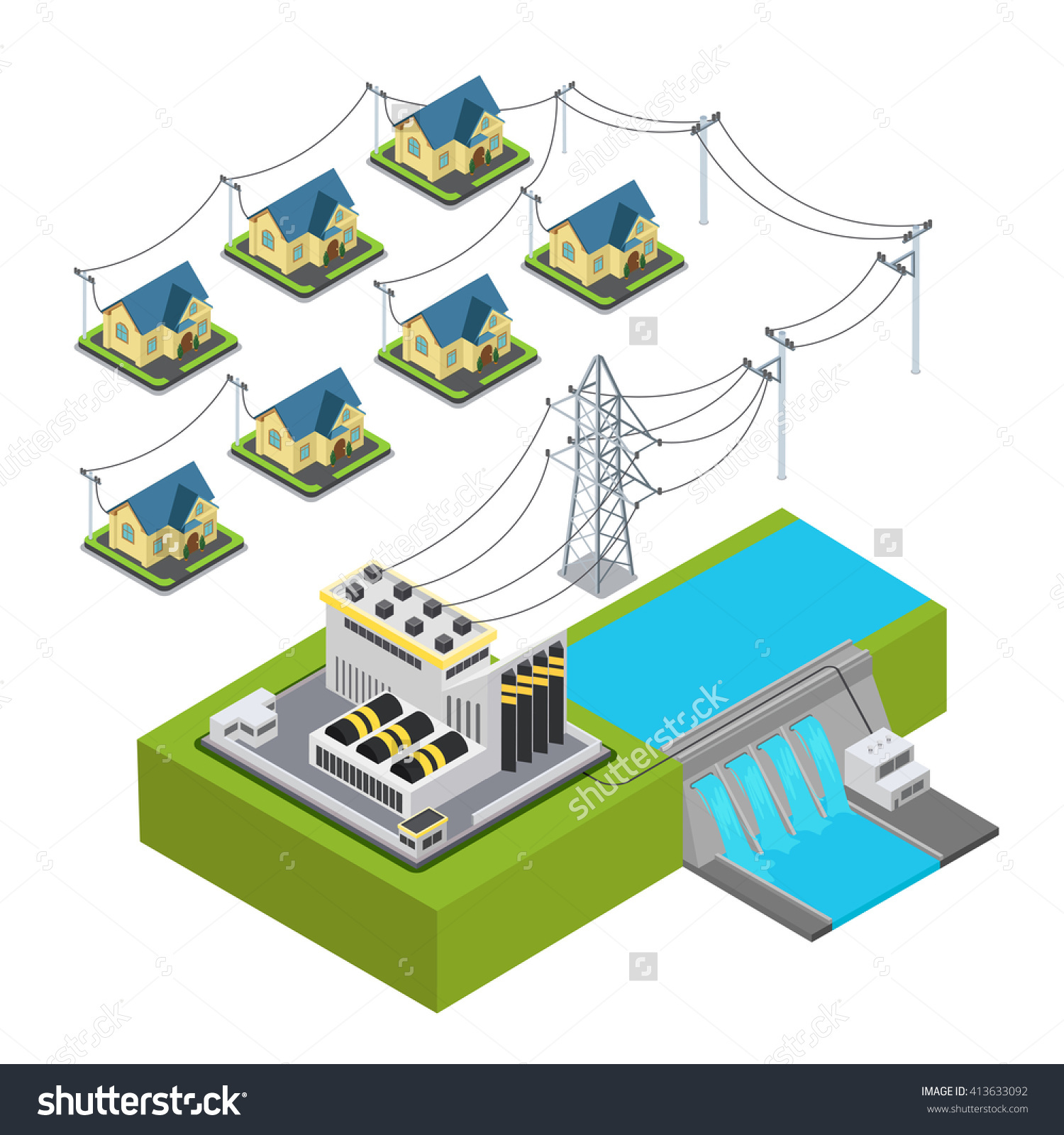 Water Power Plant Energy Hydro Station Stock Vector 413633092.