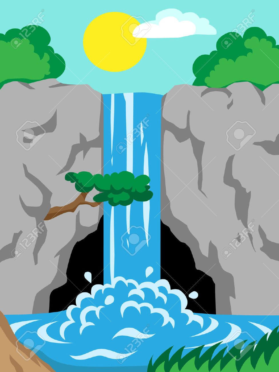 71+ Waterfall Clipart.