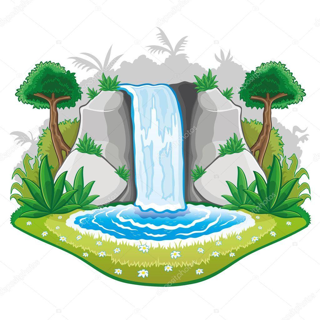 Illustration of cartoon waterfall. — Stock Illustration.